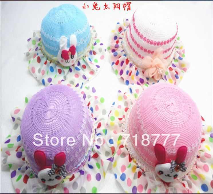 Free Shipping Children's Straw Hat Cute Bunny Sun Hat(China (Mainland))