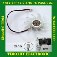 HOT SALE FREE SHIPPING PC VGA Video Card Heatsink Cooler Cooling Fan 55 mm 2pin 1PC#FS015