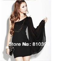 Women's Novelty Design Big One Sleeve Chiffon Mini Dress One Shoulder Sexy Party Club Dress Black Freeshipping#D055