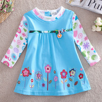 FREE SHIPPING H2762#12m-5y 5piece/lot beautiful flowers embroidery spring / autumn  long sleeve hot sale dresses for baby girls