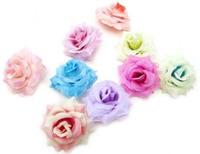 6.5cm 20pcs/lot Silk chiffon flowers  Artificial Silk Rose Flower Heads Wedding party Hair dressing free shipping