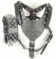 Free Shipping Spikes Studded Black Leather Dog Harness&Collar Set Studs Pitbull Husky Boxer Size S M L XL