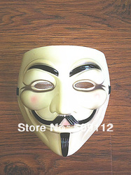 V vendetta team guy fawkes masquerade Halloween carnival Mask(adult size),40g,light yellow 20pieces/lot(China (Mainland))