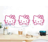 Free shipping 15pcs creative wall stickers,Hello Kitty Cat Children's room bedroom background wall stickers