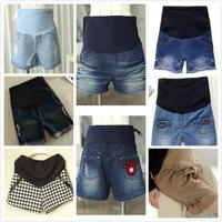 2014 New Denim Belly Elastic Maternity Pregnant  fashion boot cut jeans shorts plus size maternity pants denim shorts  pants