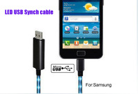 Mirco USB Sync Data Cable&Visible Flowing Electroluminescent Light For HTC/SAMSUNG/NOKIA/MOTO,LED light