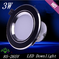 Hot sale 3w led downlights AC86~265V 280~300lm 2.5-inch matte black shell Living room lights 6pcs/lot free shipping