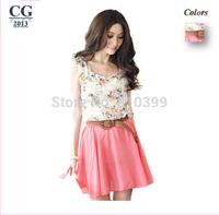 2014 New Fashion Women's Sleeveless Flowers Printed Floral Chiffon Mini Casual Dress Summer Dress Freeshipping#CGD009