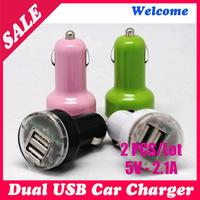 2 PCS/lot ,2 - Port Dual USB Car Charger Mini Car Charger For iPhone 4 S, iPod ipad galaxy all phone 5 V- 2.1 A