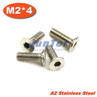 100pcs/lot DIN7991 M2*4 Stainless Steel A2 Flat Socket Head Cap Screw