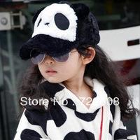 free shipping MZ06 stock Wholesale and retail 2014 hot new autumn and winter children panda plush baseball caps (4 colors)
