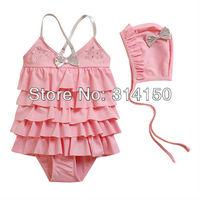 Vivo-biniya Kid girl's One-piece swimsuts and cap chlid swimwear skirt swimwear 3-7T pink and rose red 1pcs
