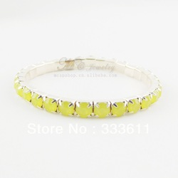 Special 2013 Charms Womens Jewelry Wholesale Fashion Exquisite Rhinestone Bracelet Single Row of Resin Stretch Bangle for Girls(China (Mainland))