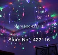 3.5m RGB LED Holiday Curtain Decoration Wedding LIGHTS STRING Strip 100 SMDs 16 Butterfly 110V/220V EU/UK/US/AU Plug