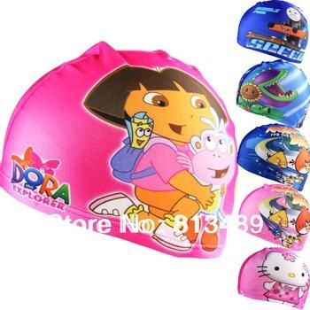 freeship 1pcs Kids cartoon Hot Lycra Swim caps 2014 cartoon design Children swimmingcap baby swim hats swimcap high quality
