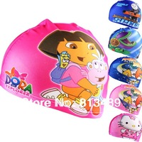 freeship Hot Lycra Swim caps for kids 2013 cartoon design free shipping Children swimmingcap baby swim hats swimcap high quality