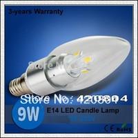 5PCS Free Shipping CREE E14 6W/9W/12W/15W LED  White/Warm white High Power LED Bulb Lamp Candle Light Energy Saving
