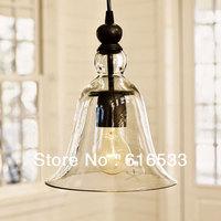 New 2014 American style pendant light vintage nostalgic bell restaurant lamp transparent glass edison bulb d8085