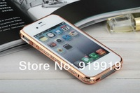 Fashion Luxury Bling Crystal Diamond Metal Frame Case Cover For iPhone 5 5G 5S free shipping