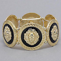 Free Shipping Rihanna Inspired Trendy Gold Black Lion Head Medallion Chunky Stretch Bangle Bracelet