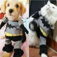 Free shipping pet / dog cat clothes coat gray Batman style cloak
