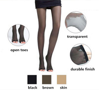 hot 14 summer ultra sheer nylon tights 2pcs/lot brand open toes women pantyhose in black and skin tone