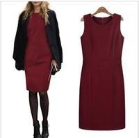 knee-length slim plus size 4XL fat women clothing wear Korean style sheath black winter dress LY120814