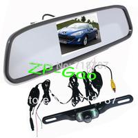 "4.3"" Car TFT LCD Mirror Monitor + Wireless Reverse Car IR Rear View Backup Camera Kit Free Shipping"