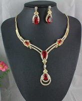 HE00412 HOT RED GARNET TOPAZ 18K YELLOW GOLD PLATED NECKLACE EARRINGS SET