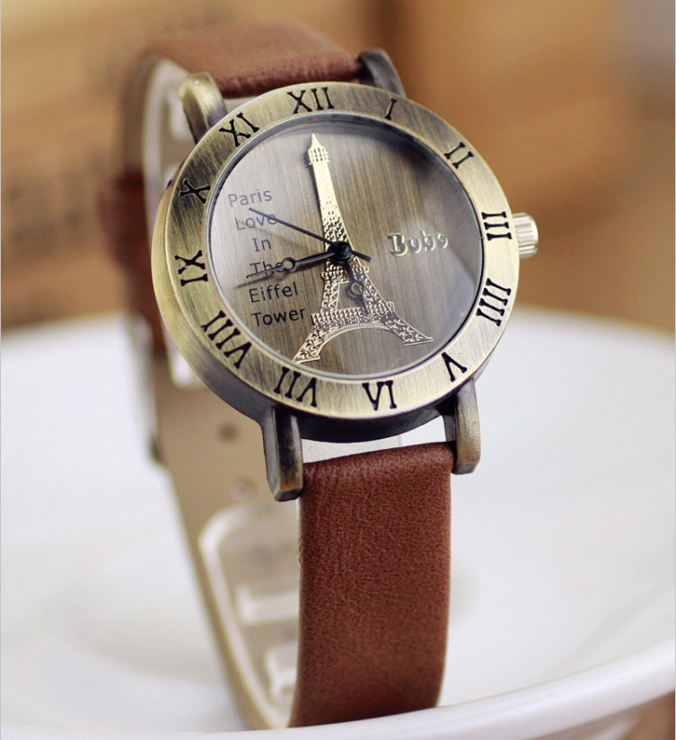 2013 Newest style,ladies Leather watches with Eiffel Tower watch header,Hotting women watch in whole world(China (Mainland))