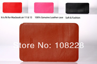 "2014 New Hot Fashion 100% Genuine Leather Protective Laptop Sleeve Case Bag For  MacBook Air air 13"" 11''inch Laptop Sleeve"
