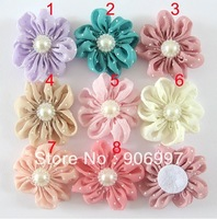 DIY pearl baby head  flower Without Clip ,wrinkles  Flower With Pearl,Girl's Hair Accessories ,mix color ,free 100pcs shpping