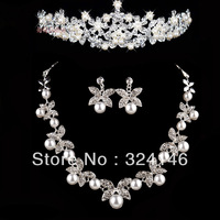 Own factory made New design top crystal pearl bridal jewelry sets wedding tiara+necklace+earring