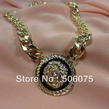 Min Order $10 2013 Hot Sale Fashion Jewelry Enamel Metal Lady Choker Lion Head Necklace