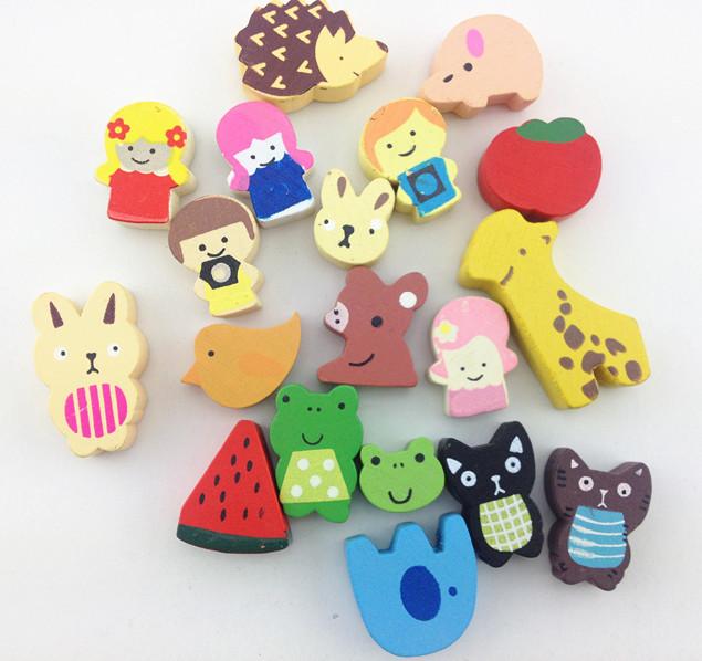 100pcs Creative Wooden fridge cartoon animals and fruits magnet sticker, Fridge magnetic,Refrigerator(China (Mainland))