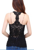 2014 new women knitted cotton lace vest ladies plus size basic sleeveless lace tank top shirt WC0206