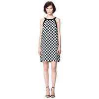 2013 fashion runway designer simplicity chessboard plaid black and white printed sleeveless tank strap 70s vintage womens dress
