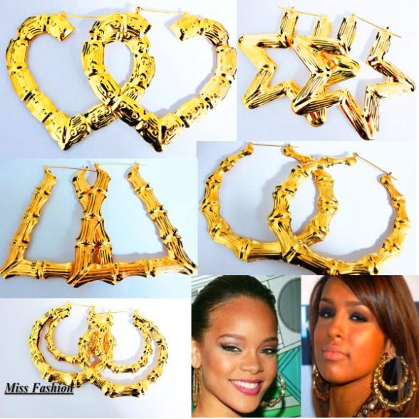 Rihanna Basketball Wives Gold Tone Heart Bamboo Joint Hoop Earrings Jewelry ,Large hoop Earrings(China (Mainland))