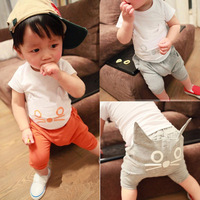 1 Set Retail Free shipping 2013 New 100% cotton baby  kids clothing set,T-shirt+pant with cat cartoon