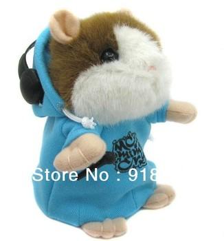 new mimic talking pet Hamster Toy/ MC DJ Rapper Clothing Talking Plush Toys Talking Animal /children's kid's gift present