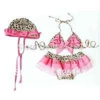 Leopard Pink Kids Girls Swimwear Cute Toddler Swimsuits Baby Swimsuits Year Bathing Suit Girl three Pieces Bikini Free shipping