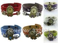 Wholesale! 2014 New Fashion Style Womens Genuine Leather Quartz Casual Watch Retro Bracelet Strap Relogio Lady WristWatch Clock