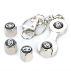 Free shipping Car Tire Valve Caps with Mini Wrench & Keychain for Toyota (4-Piece Pack) Free shipping(China (Mainland))