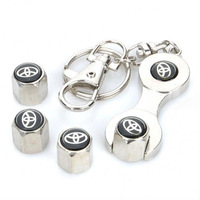 Free shipping Car Tire Valve Caps with Mini Wrench & Keychain for Toyota (4-Piece Pack) Free shipping