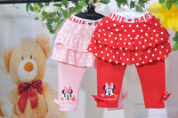 2013 new little girls round dot cut cartoon Mini print two-color skirt pant red and pink 5 pcs a lot free shipping