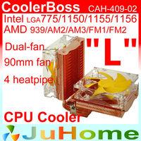dual 90mm fan, 4 heatpipe copper, side-blown, CPU fan, CPU cooler, LGA 775/115x, AMD FM1/FM2/AM2+/AM3+, CoolerBoss CAH-409-02