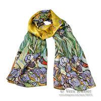 "10pcs Wholesales 100% Silk Scarf Van Gogh's ""Irises"" 1890 Oil Painting Handrolled Edges Long Scarf Shawl Wraps Hijab Headscarf"