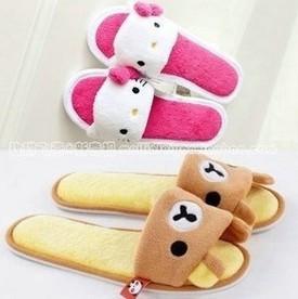 Free Shipping Cute Cartoon Rilakkuma & Hello Kitty Open Toe Short Plush Slippers Home Summer Slippers Retail