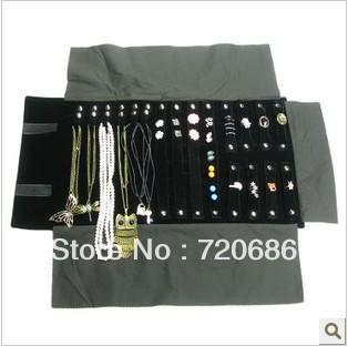 Portable travel jewelry organizer display cases organizer display travel roll of multi item jewelry pouches accessories storage(China (Mainland))