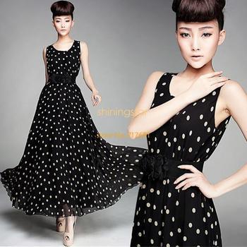 New fahsion Women Ladies Polka Dots Ball Gown Chiffon Vest Dress Maxi Long Sundress Dress With Belt S13536